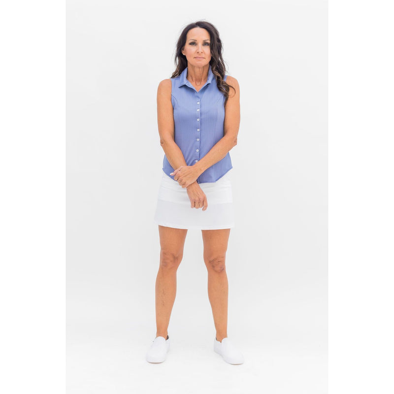 Laine Herringbone Blouse (Blue)