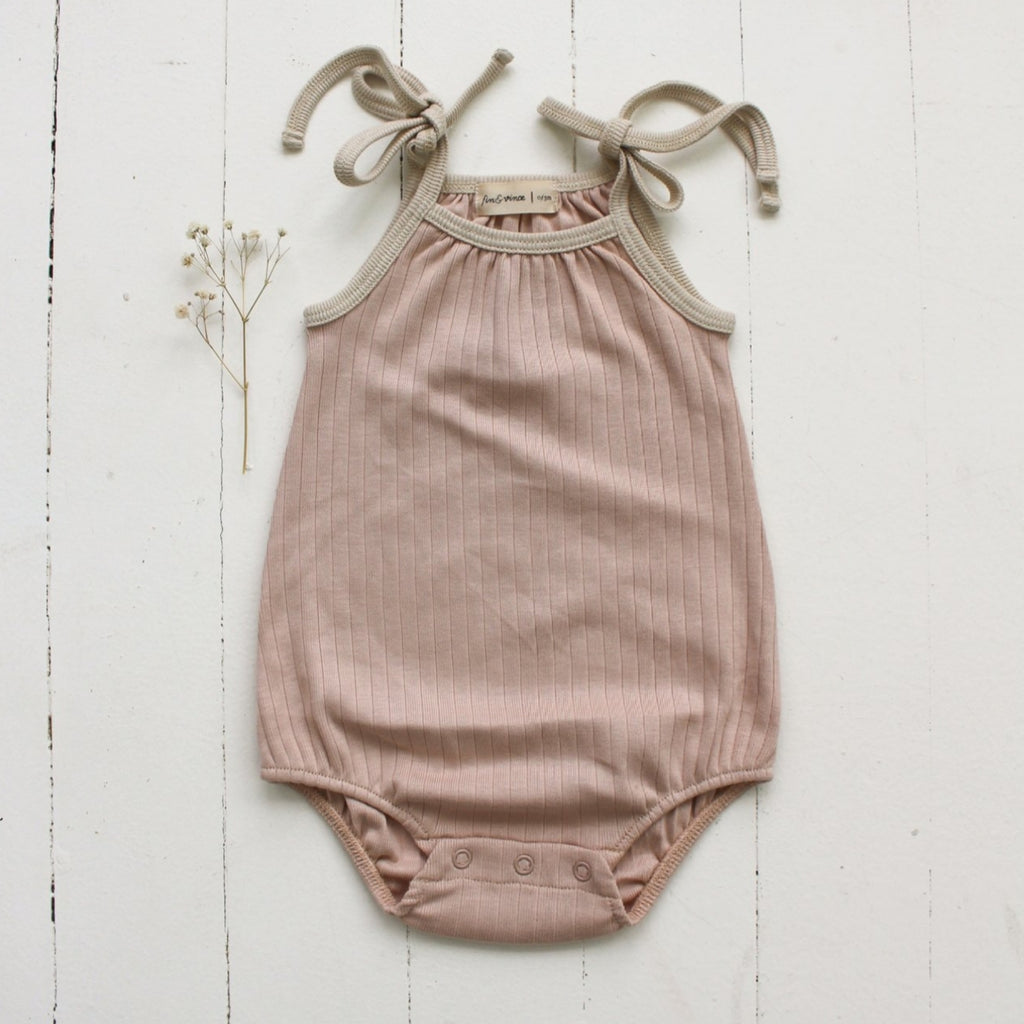 Bubble Tie Onesie Rose Dust