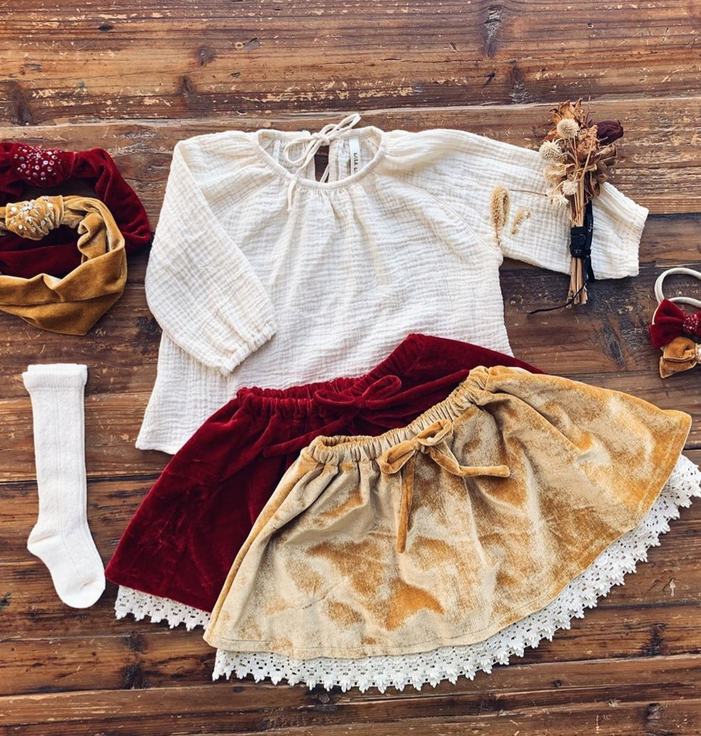 Velvet Lace Skirt Burgundy