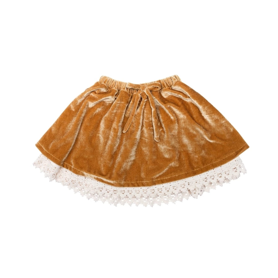 Velvet Lace Skirt Burnt Mustard