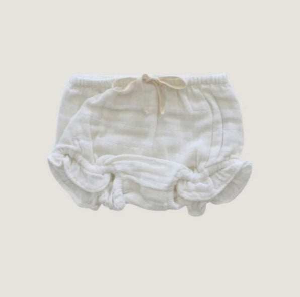 Organic Cotton Muslin Frill Bloomers - Cloud