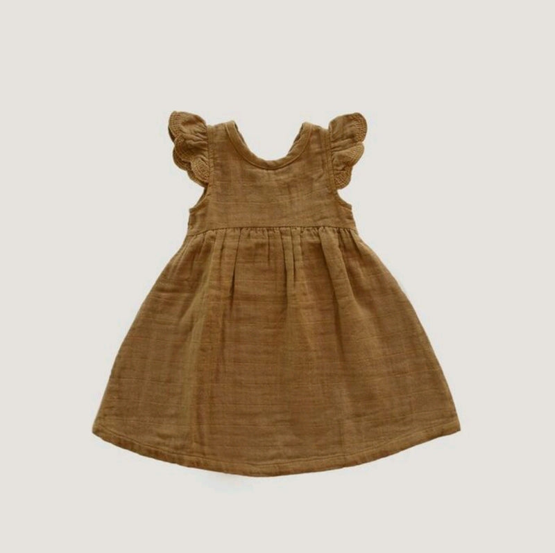 Organic Cotton Muslin Lace Dress Bronze