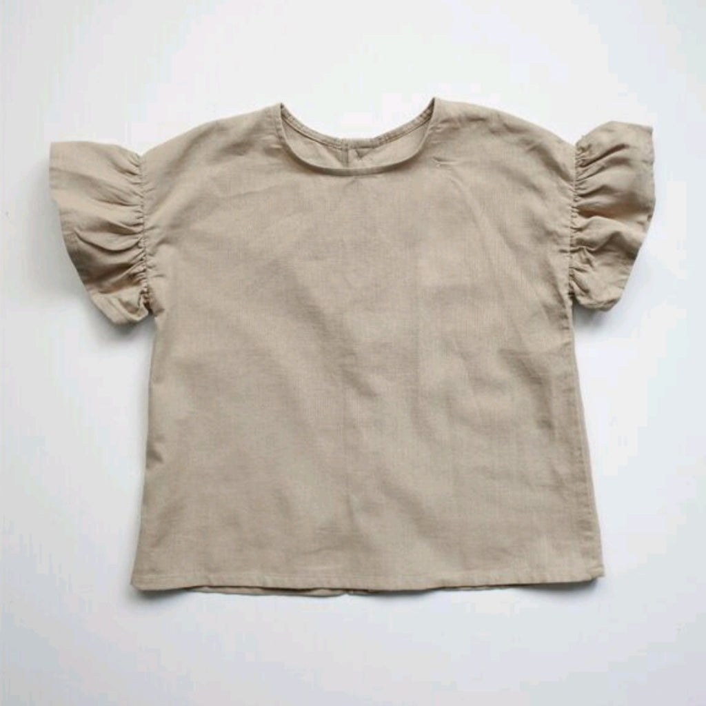 The Frill Linen Top Oatmeal