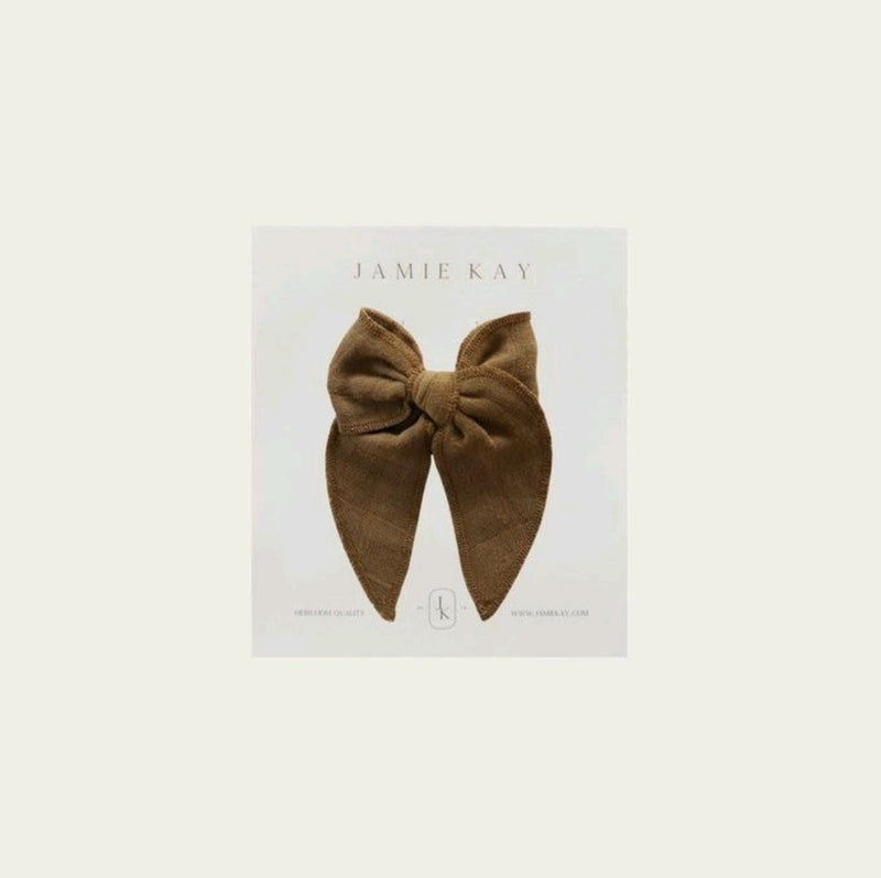 Organic Cotton Muslin Bow Gold