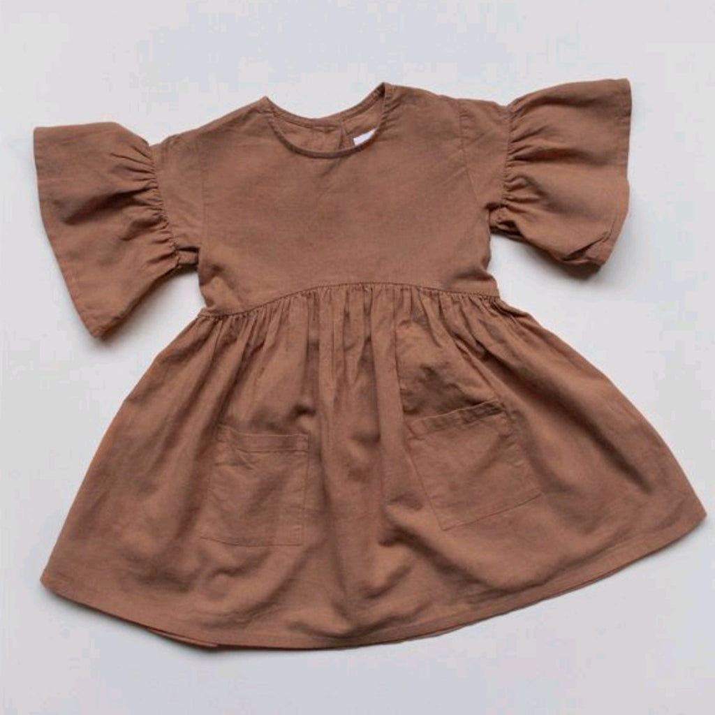 The Linen Sage Dress Cinnamon