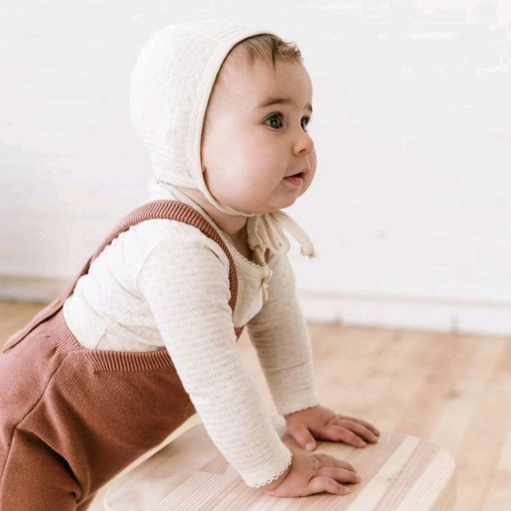 POINTELLE BABY BONNET | PEBBLE
