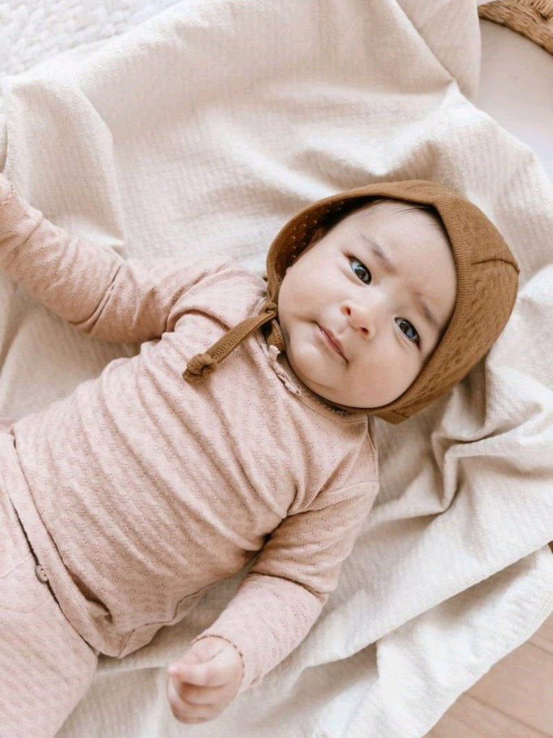 POINTELLE BABY BONNET | WALNUT
