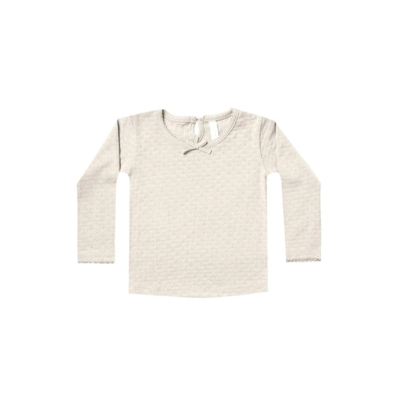 POINTELLE LONG SLEEVE TEE | PEBBLE