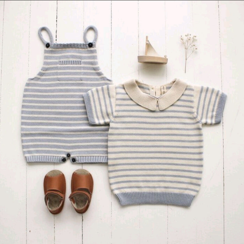 Stripe Knit Overall Powder Blue