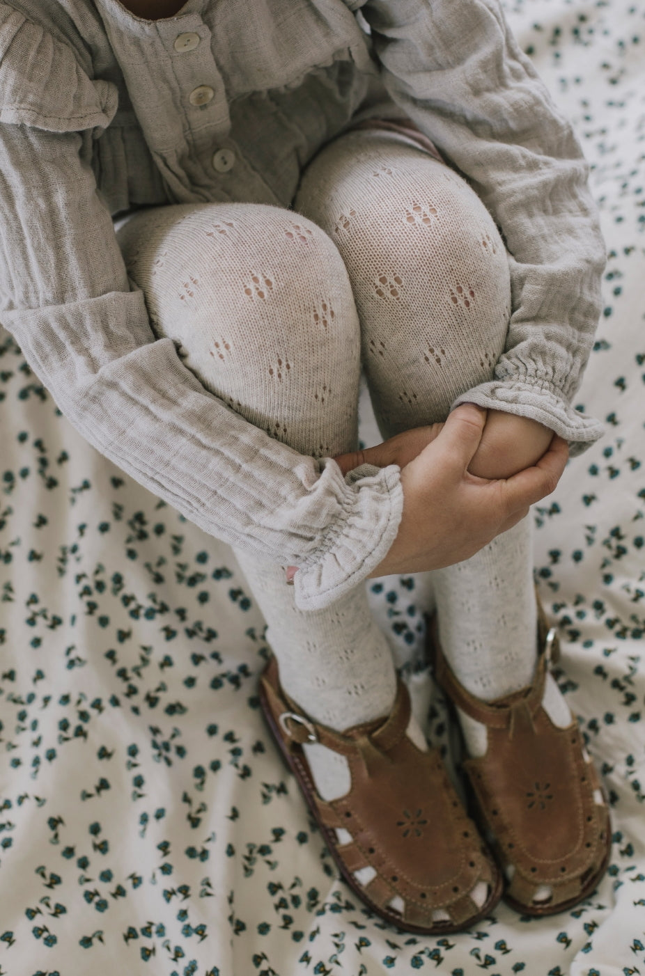 Pointelle Tights - Oatmeal