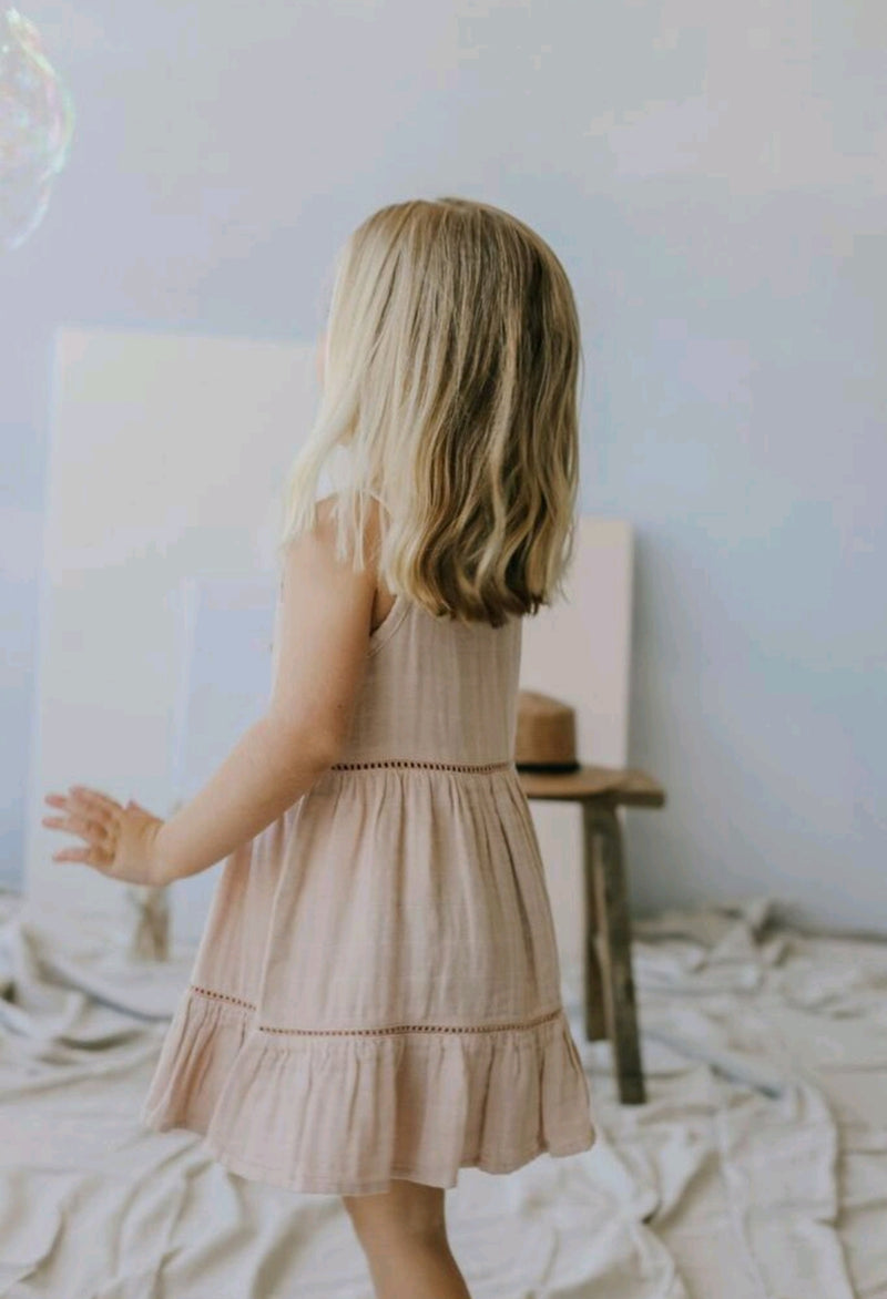 Organic Cotton Muslin Hazel Dress Rose Dust