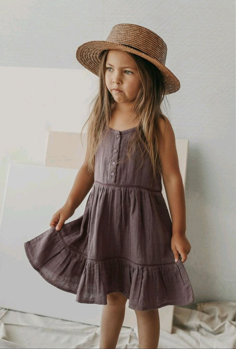 Organic Cotton Muslin Hazel Dress Wisteria