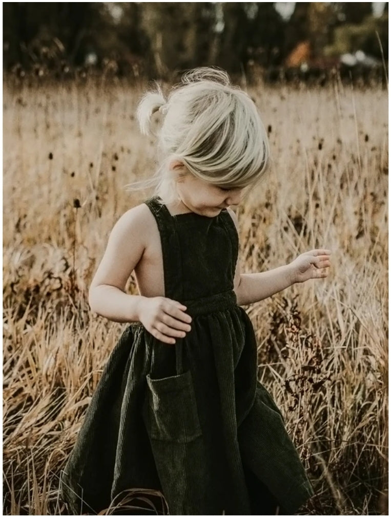 The Corduroy Pinafore Dark Olive