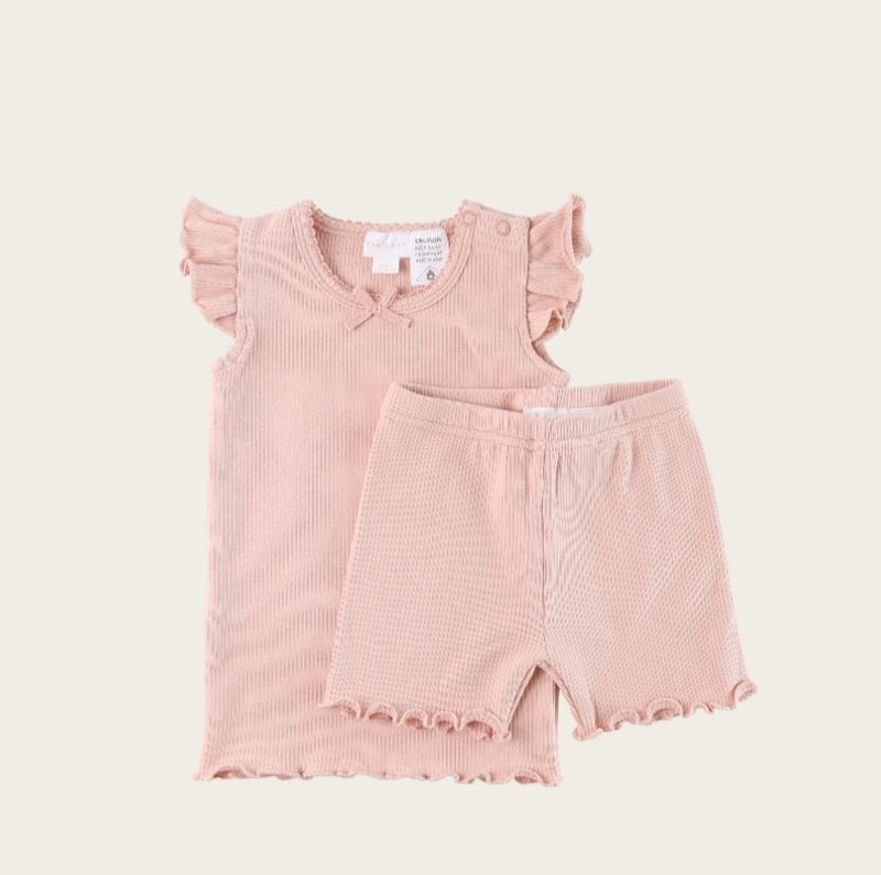 SUMMER RIBBED PYJAMA- BLUSH