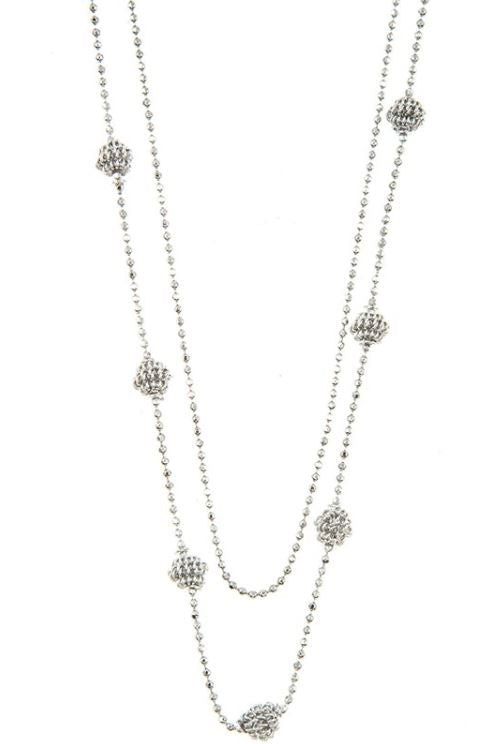 Elongated Double Row Orb Necklace