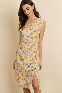Golden Flower Midi Dress