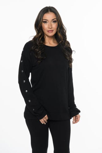 Marble Button Sleeve Top