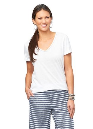 Piping Detail V-neck Tee