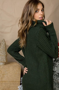 Button Accent Cowl Neck Sweater