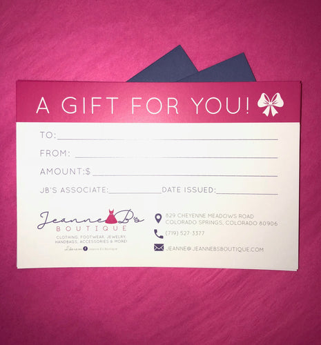 Jeanne B's Boutique Gift Card