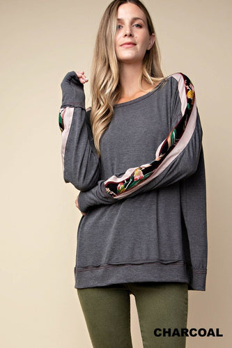 Mixed Fabric Knit Top