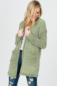 Light Olive Thigh Length Cardigan