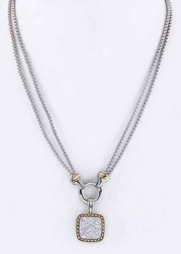 Paved CZ Pendant Layer Necklace