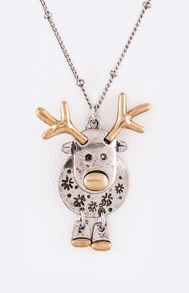 Two-Tone Reindeer Necklace Set