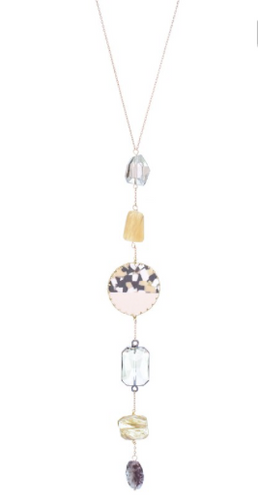 Necklace Stone Crystal Torti Drop - Natural