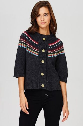 Cropped Button Down Sweater