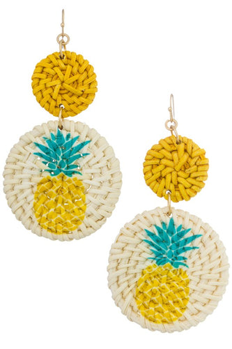 Pineapple Rattan Earrings
