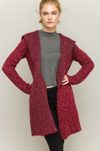 Mixed Texture Hooded Cardigan