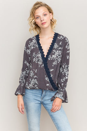 Lace Inset Ruffle Top