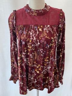 Lace Inset Printed Blouse
