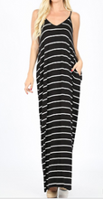 Load image into Gallery viewer, Striped V-neck Cami Maxi Dress