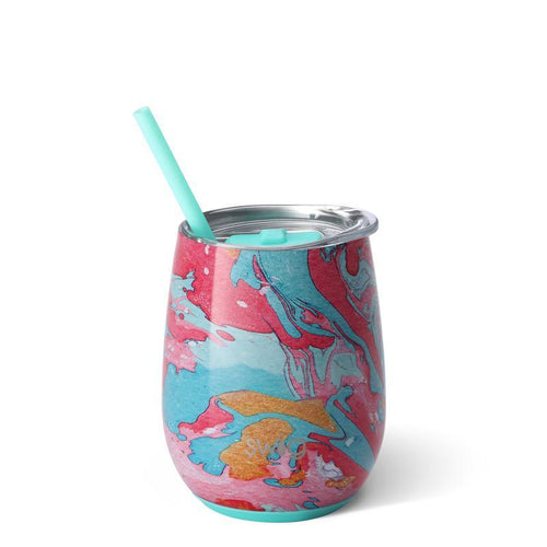 Cotton Candy Stemless Wine Cup with Straw