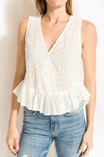 Load image into Gallery viewer, Eyelet Wrap Ruffle Top