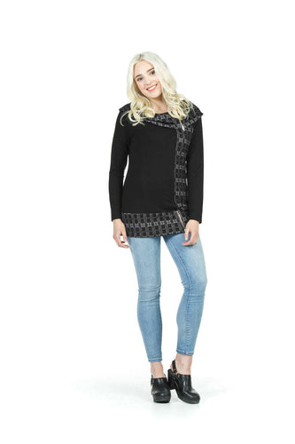 Textured Cowl Tunic with Zip Detail