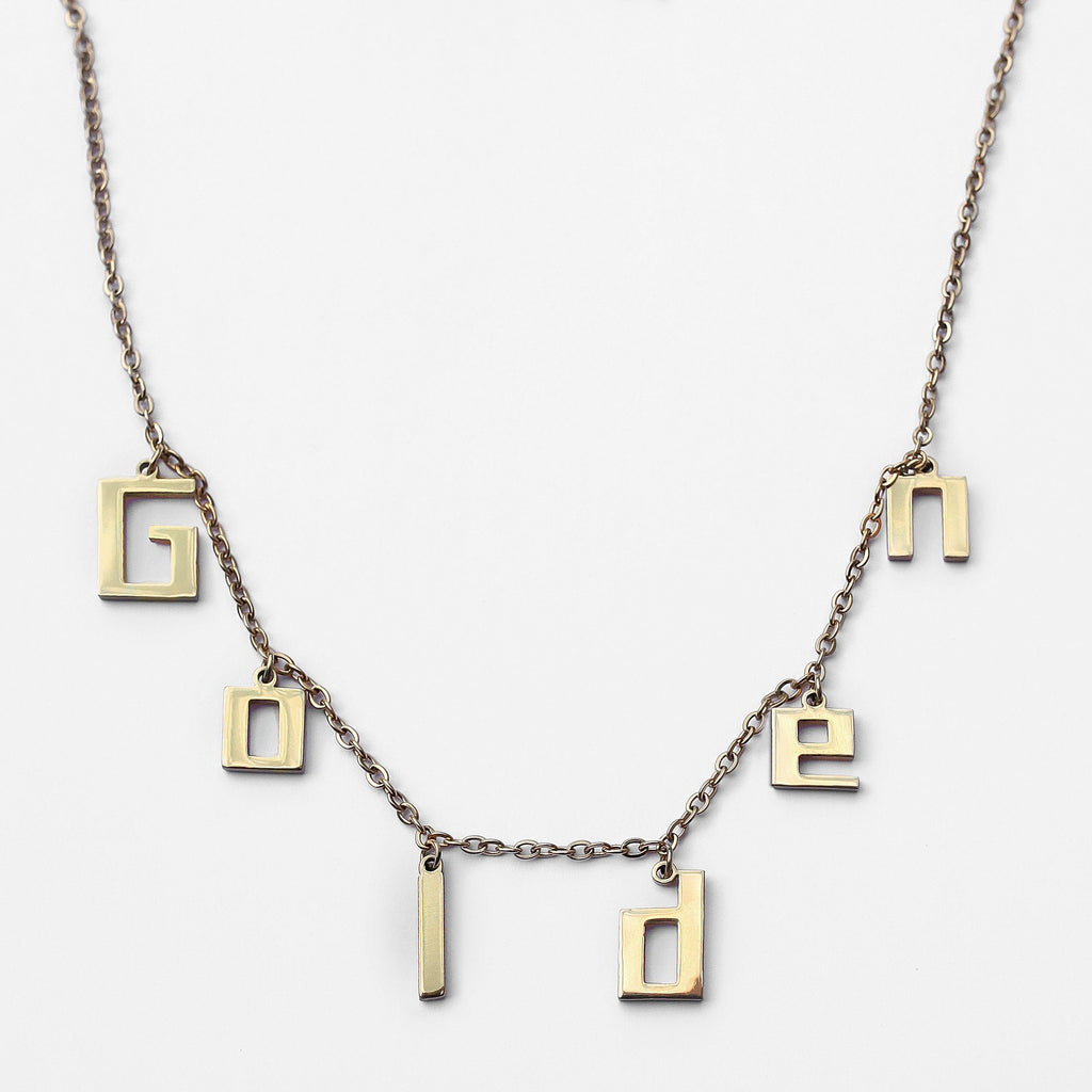 Personalized Custom Charm Necklace - Bold Stainless Steel (Gold)