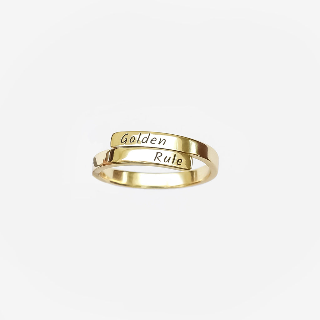 Personalized Custom Engraved Ring - Elegant 18k Gold Plated