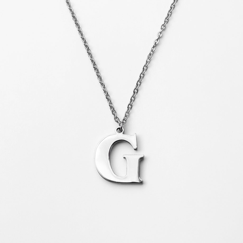 Personalized Custom Initial Necklace - Modern Stainless Steel