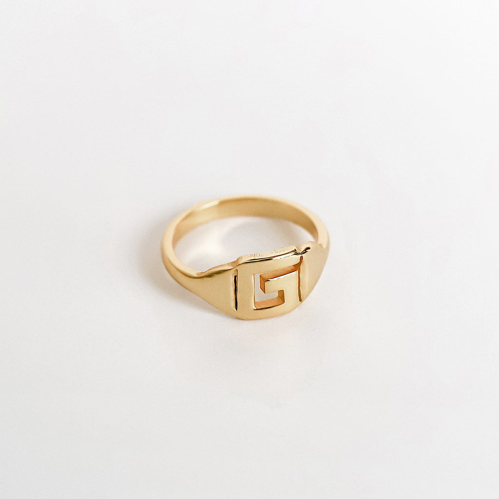 Personalized Custom Initial Ring - Bold 18k Gold Plated