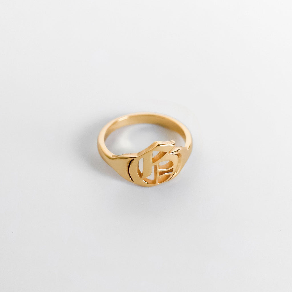 Personalized Custom Initial Ring - Classic 18k Gold Plated
