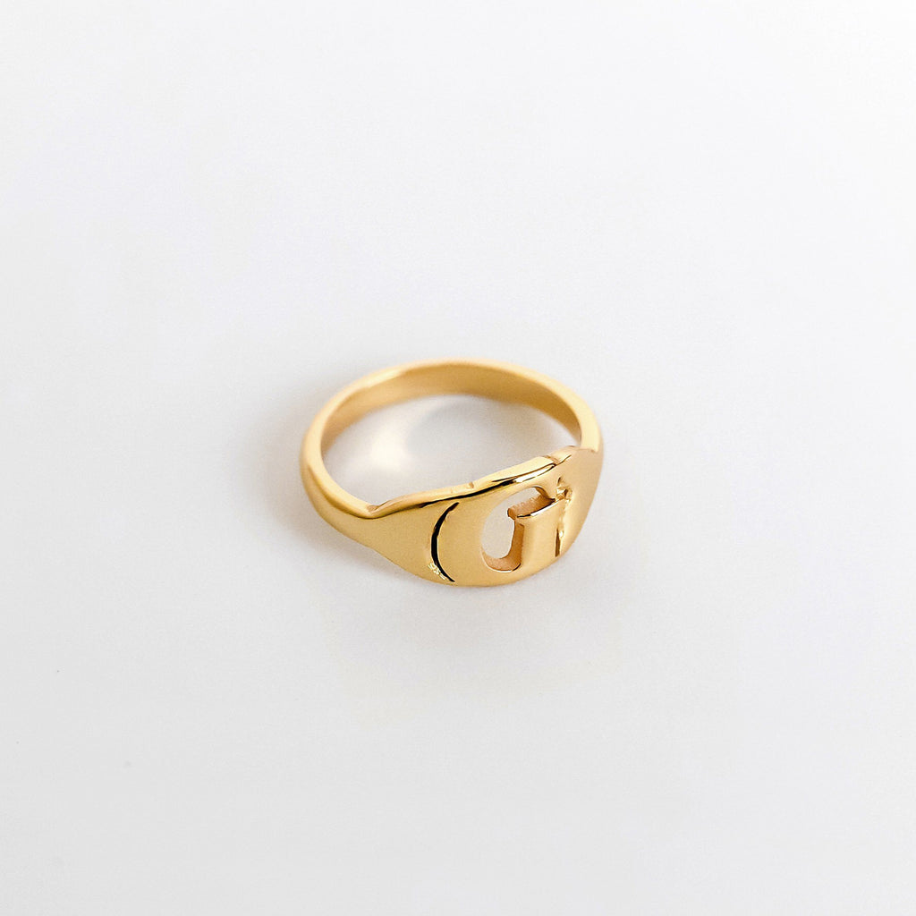 Personalized Custom Initial Ring - Modern 18k Gold Plated