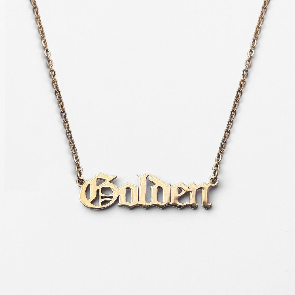 Personalized Custom Name Necklace - Classic Stainless Steel (Gold)