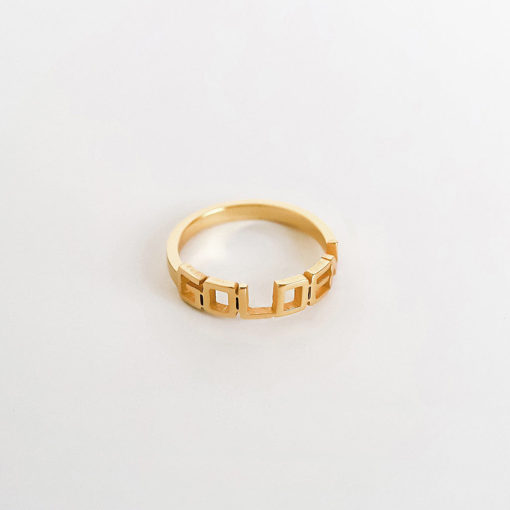 Personalized Custom Name Ring - Bold 18k Gold Plated