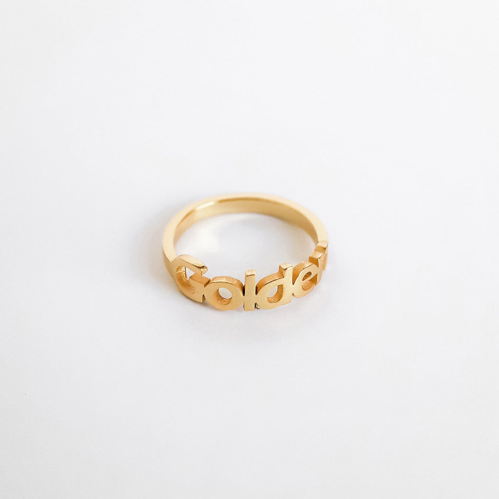 Personalized Custom Name Ring - Modern 18k Gold Plated