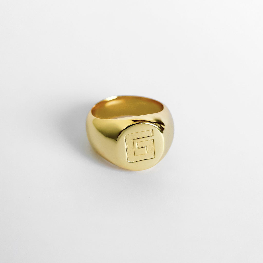Personalized Custom Signet Ring - Bold 18k Gold Plated