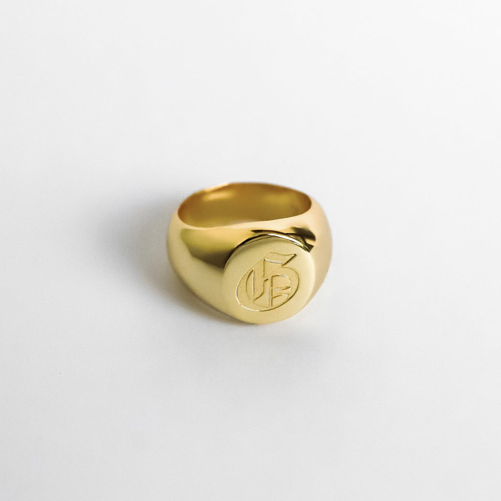 Personalized Custom Signet Ring - Classic 18k Gold Plated