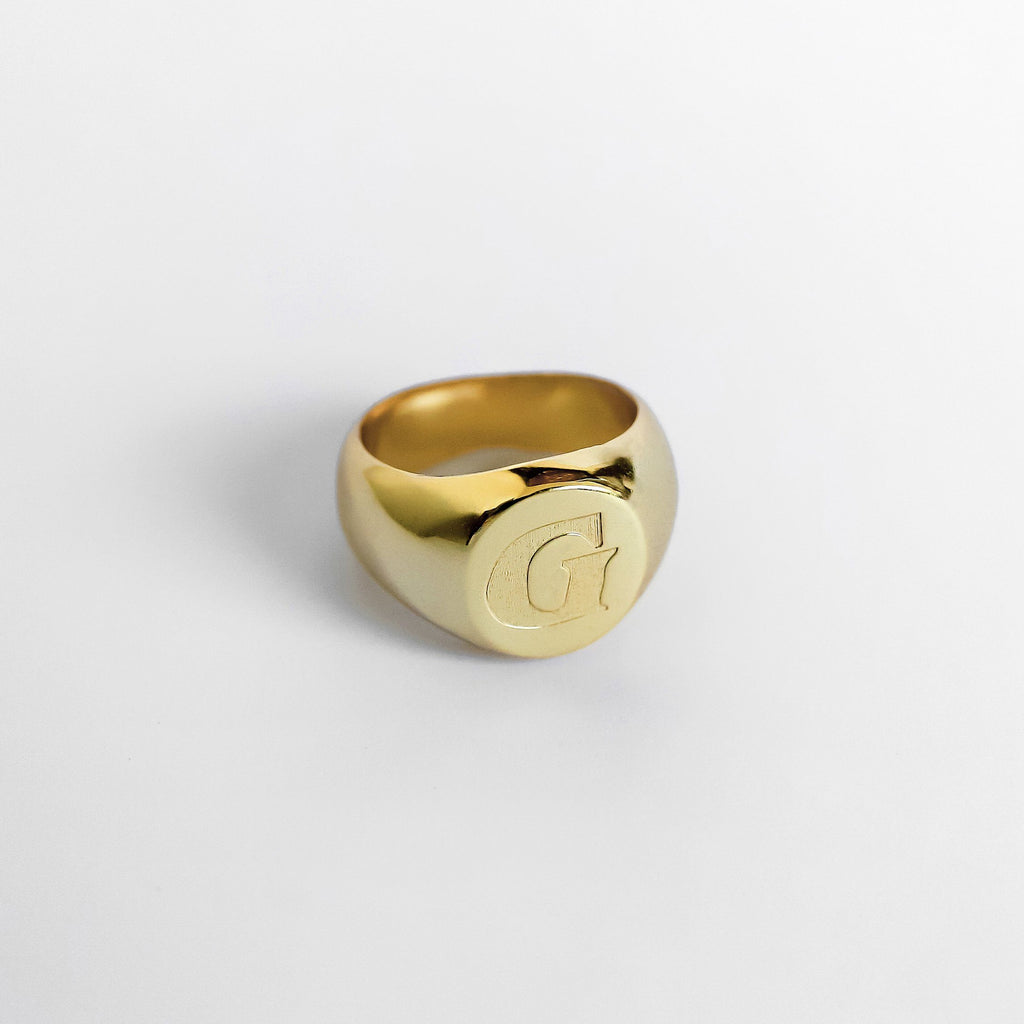 Personalized Custom Signet Ring - Modern 18k Gold Plated